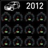 2012-Jahr-Kalendergeschwindigkeitsmesserauto im Vektor. Lizenzfreie Stockfotografie