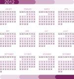 2012 kalendarzowa siatka Fotografia Stock