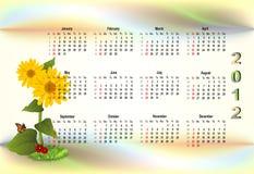 2012 kalendarzowego kolorowy Obrazy Stock
