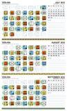 2012 kalendarzowy europejski Lipiec majski Wrzesień Zdjęcie Stock