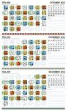 2012 kalendarzowy Grudzień europejski majski Październik Zdjęcia Stock