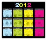 2012 kalender måndag sunday royaltyfria bilder