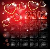 2012 kalenderhjärtor Royaltyfri Bild
