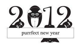 2012 karciany kotów cyfr nowy rok Obrazy Stock