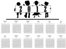 2012 kids calendar. Against white background, abstract vector art illustration Stock Image