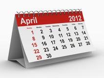 2012 Kwiecień rok kalendarzowy Fotografia Stock