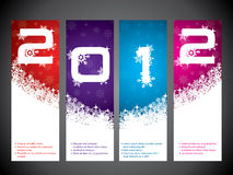 2012 label set. With snowy background design Royalty Free Stock Photos