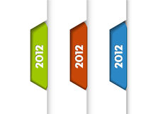 2012 Labels / Tabs. 2012 Labels, Tabs, Tags on the edge of the (web) page Vector Illustration
