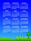 2012 landscape calendar. Simple and beautiful sky with grass and tree landscape background with complete year 2012 calendar Royalty Free Stock Photo