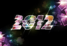 2012 Light logo. Black background with 2012 color lighting logo Royalty Free Stock Images