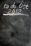 2012 listar till Royaltyfri Fotografi