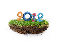 2012 logo. On the grass with white background Royalty Free Stock Image