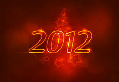 2012 logo. Illustrated christmas logo 2012 with lighting background Stock Photography
