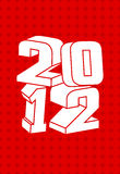 2012 logo. With white 3d text in red background Stock Photography