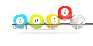 2012 lottery balls. Isolated on white Royalty Free Stock Photo
