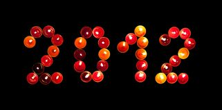 2012 made ​​of colored candles Royalty Free Stock Photos