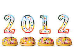 2012 made with cake candles. On the white Royalty Free Stock Photos