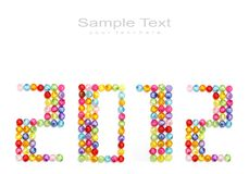 2012 made of colorful beads Stock Photo