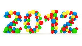 2012 made from colorful spheres. 3d Image Royalty Free Stock Images