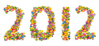 2012 made of confetti. Isolated on white background Royalty Free Stock Photos