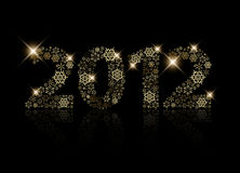 2012 made from golden snowflakes Stock Image