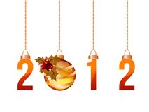 2012 made of hanging Christmas decorations. Isolated on white Royalty Free Stock Images