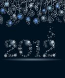 2012 made of snowflakes. 2012 made of white snowflakes on dark background stock illustration