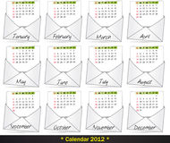 2012 mail calendar. Illustration set of 2012 mail calendar Royalty Free Stock Images