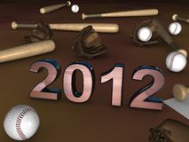 2012 in the middle of baseball batts. 2012 in the middle on a brown playground with some baseball batts, balls and gloves Royalty Free Stock Photos