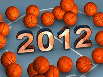 2012 in the middle with lots of basketballs. 2012 in the middle of a blue playground with lots of basketballs Royalty Free Stock Image