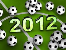 2012 in the middle with many soccerballs. 2012 in the middle of a green playground with many soccerballs Vector Illustration