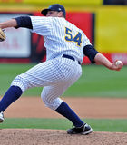 2012 Minor League Baseball Action. TRENTON, NJ - JUNE 4: Trenton Thunder pitcher Ryan Flannery delivers a pitch during the eastern league baseball game against Stock Photography