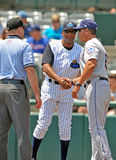 2012 Minor League Baseball action. TRENTON, NJ - JUNE 10: Trenton Thunder manager Tony Franklin (facing) shakes hands with the Binghamton manager prior to the Royalty Free Stock Images