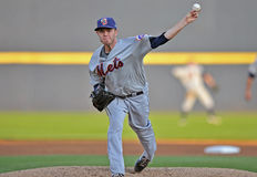 2012 Minor League Baseball action. TRENTON, NJ - JUNE 9: Binghamton Mets starting pitcher Darin Gorski throws a warm up pitch during the Eastern League baseball Royalty Free Stock Photos