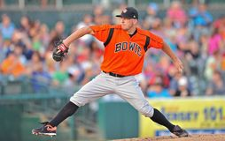 2012 Minor league baseball - Bowie Baysox pitcher Stock Photo