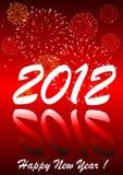 2012 mit Feuerwerken Stockfotografie