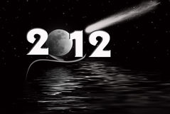 2012 Moon. Full moon and comet in starry sky with 2012 new year Stock Photos