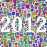 2012 in a mosaic of squares. Harlequin mosaic for composing the 2012 sketch vector illustration