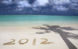 2012 na praia Imagem de Stock