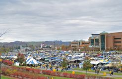 2012 NCAA football - WVU vs TCU. MORGANTOWN, WV - NOVEMBER 3: Fans tailgate in a parking lot just outside Mountaineer Field prior to a WVU home football game royalty free stock images