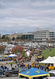 2012 NCAA football - WVU vs TCU. MORGANTOWN, WV - NOVEMBER 3: Fans tailgate in a parking lot just outside Mountaineer Field prior to a WVU home football game stock photography