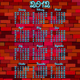 2012 Neon calendar. On red brick wall Royalty Free Stock Photography