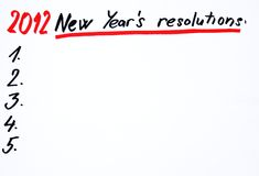 2012 neue year´s resolutins Lizenzfreies Stockfoto