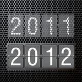 2012 neues Jahr auf mechanischer Anzeigetafel Stockfotografie