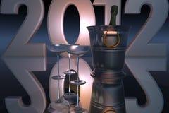 2012 neues Jahr mit Champagne Stockfotografie