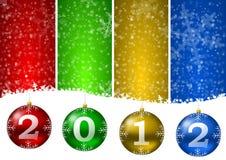 2012 new year. Illustration with christmas balls royalty free illustration
