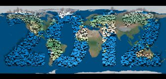 2012 new year. Modeled with tridimensional blocks over the world image Vector Illustration