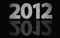 2012 new year. Modeled with tridimensional blocks over the world image royalty free illustration