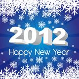2012 new year. Blue background with snowflakes. vector Stock Illustration