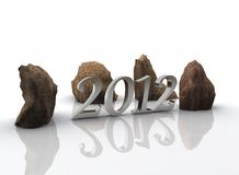 2012 -new year. 2012, the new year - stones Stock Photos